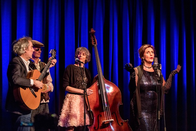 Netherlands, Heerlen, 03.23.2018 Renee Cillekens and her son Tom.Show Ravelin. With Anita Verdonk (vocals), Andre Kok (violin), Peter Verheijen (guitar) and Josien Mennen (bass). photo Chris Keulen